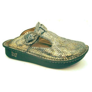 Alegria Womens Posh Pewter Gold Slip On Sandals 38